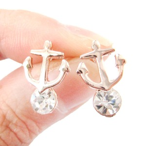 Classic Nautical Themed Anchor Shaped Stud Earrings with Rhinestones in Rose Gold