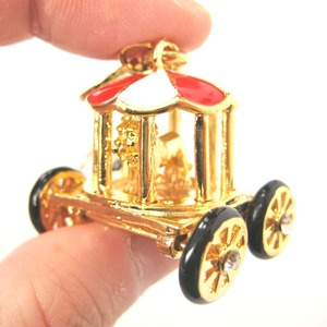 Limited Edition Lion in a Cage Circus Zoo Themed Carriage Wagon Pendant Necklace