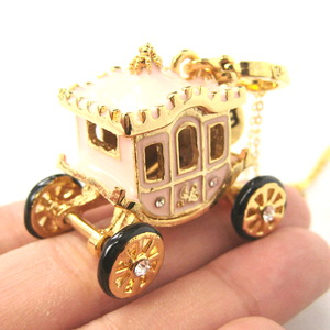 Limited Edition Fairy Tale Cinderella Horse Carriage Pendant Necklace