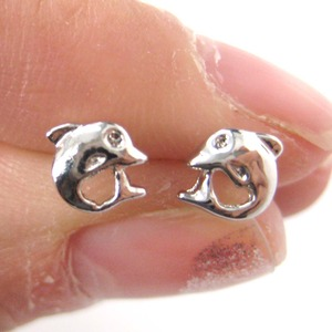 Small Dolphin Fish Sea Animal Stud Earrings in Silver