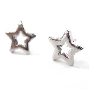 Small Star Shaped Night Sky Stud Earrings in Silver