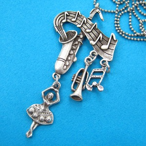 Musical Note Ballerina Trumpet Saxophone Necklace in Silver