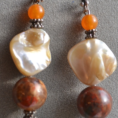 Elsa- red jasper and shell bali silver earrings