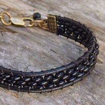 Black Leather Beaded Cuff Bracelet