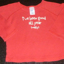 Red Shirt I've Been Good All Year-Old Navy Size 12-18 Months