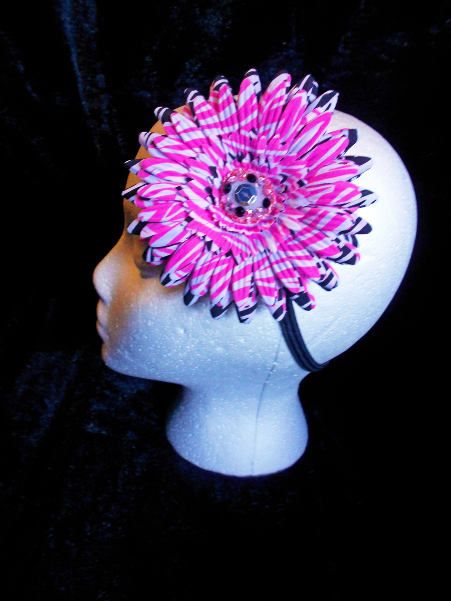 White And Pink And Black Zebra Print Flower Angel Devil Designs