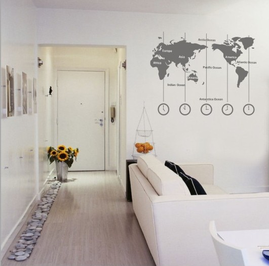 Removable vinyl world map wall decal time wall art clock wall 1 small gumiabroncs Choice Image
