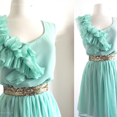 Mint blue green spring wedding ruffles and bridesmaid dress