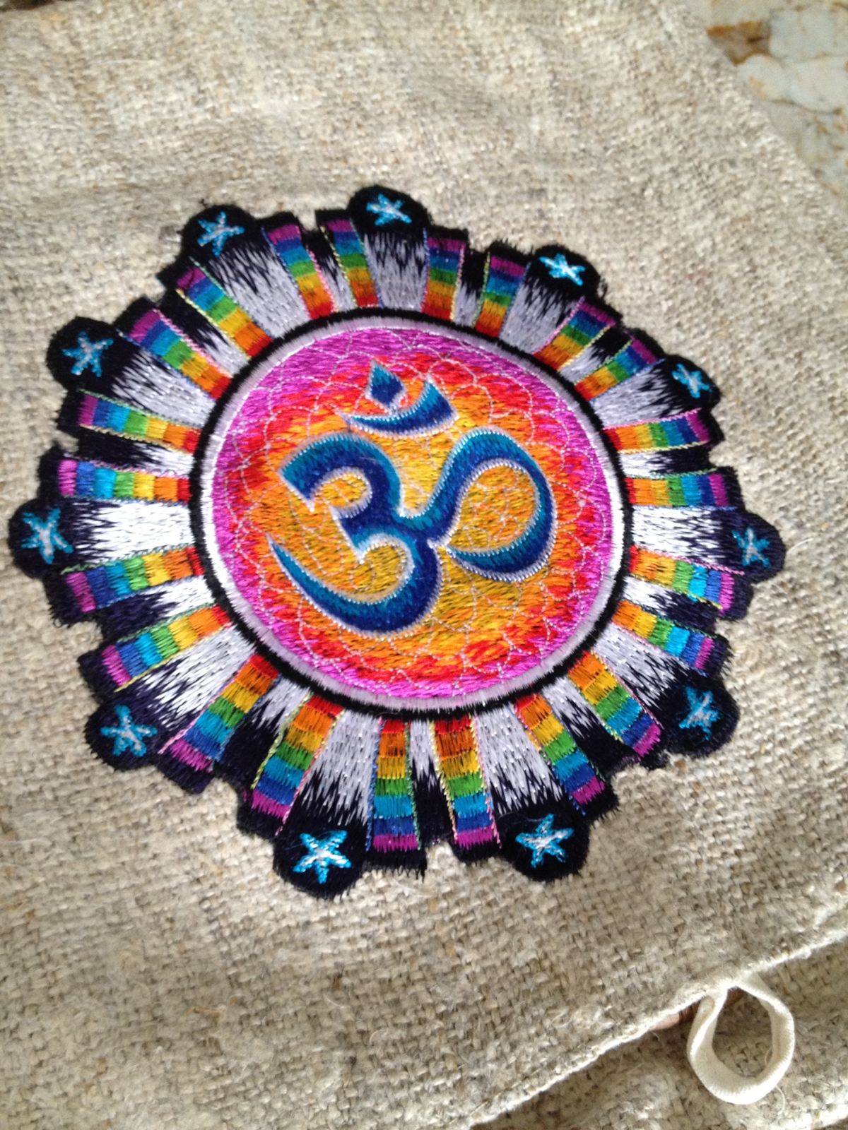 Om Aum Symbol Hemp Embroidered Hippie India Indian Yoga Shoulder