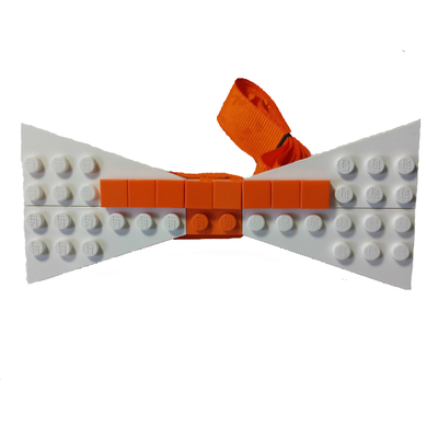 Personalized lego® bow tie  white/orange