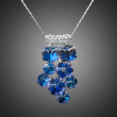 Exclusive ice drop necklace platinum plated with 8pcs for Swarovski jewelry online store