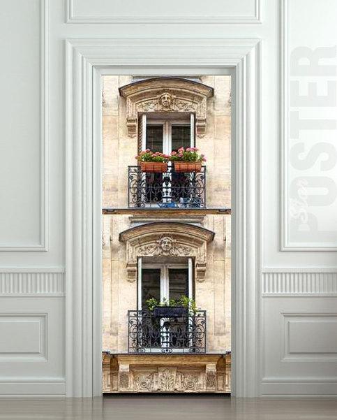 Door Sticker Architecture Gothic Attic Garret Balcony City