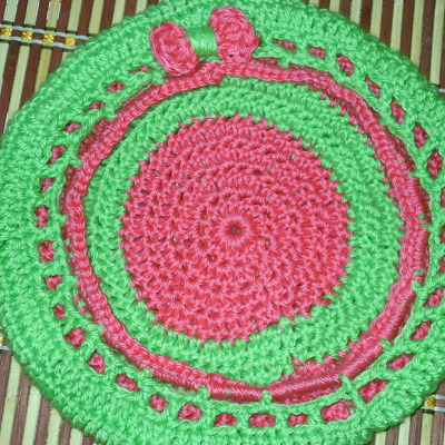 Pink & lime-green crocheted tam w/ bow