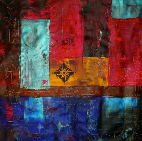 Patchwork II Colorful Abstract Art Original Acrylic