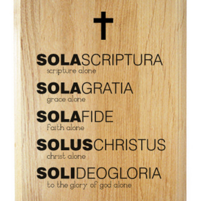 Five solas wood plaque