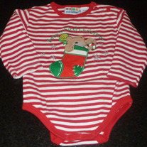 Baby's First Christmas Bear in Stocking Onesie-Miniwear Size 12 Months
