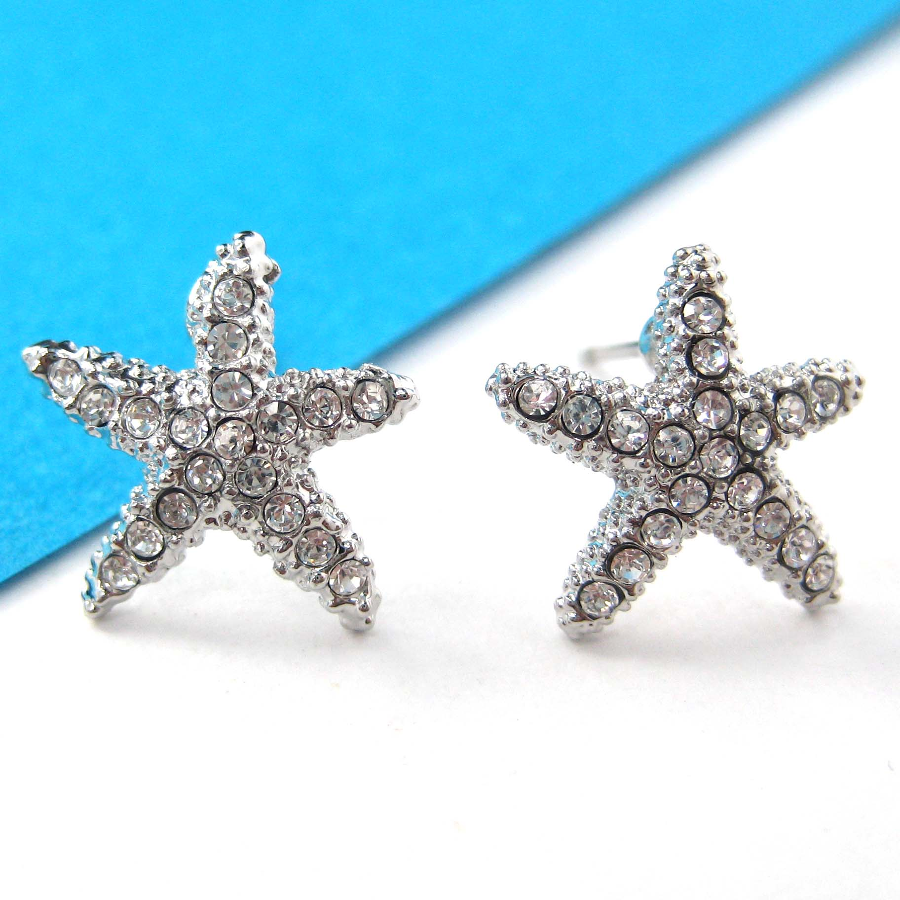 earrings starfish classic blue flower stud for color design new pin big gold red women