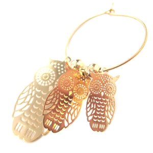 Owl Shaped Animal Themed Dangle Hoop Earrings in Gold with Dye Cut Details