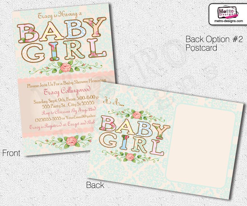 shabby chic baby shower invitation on storenvy