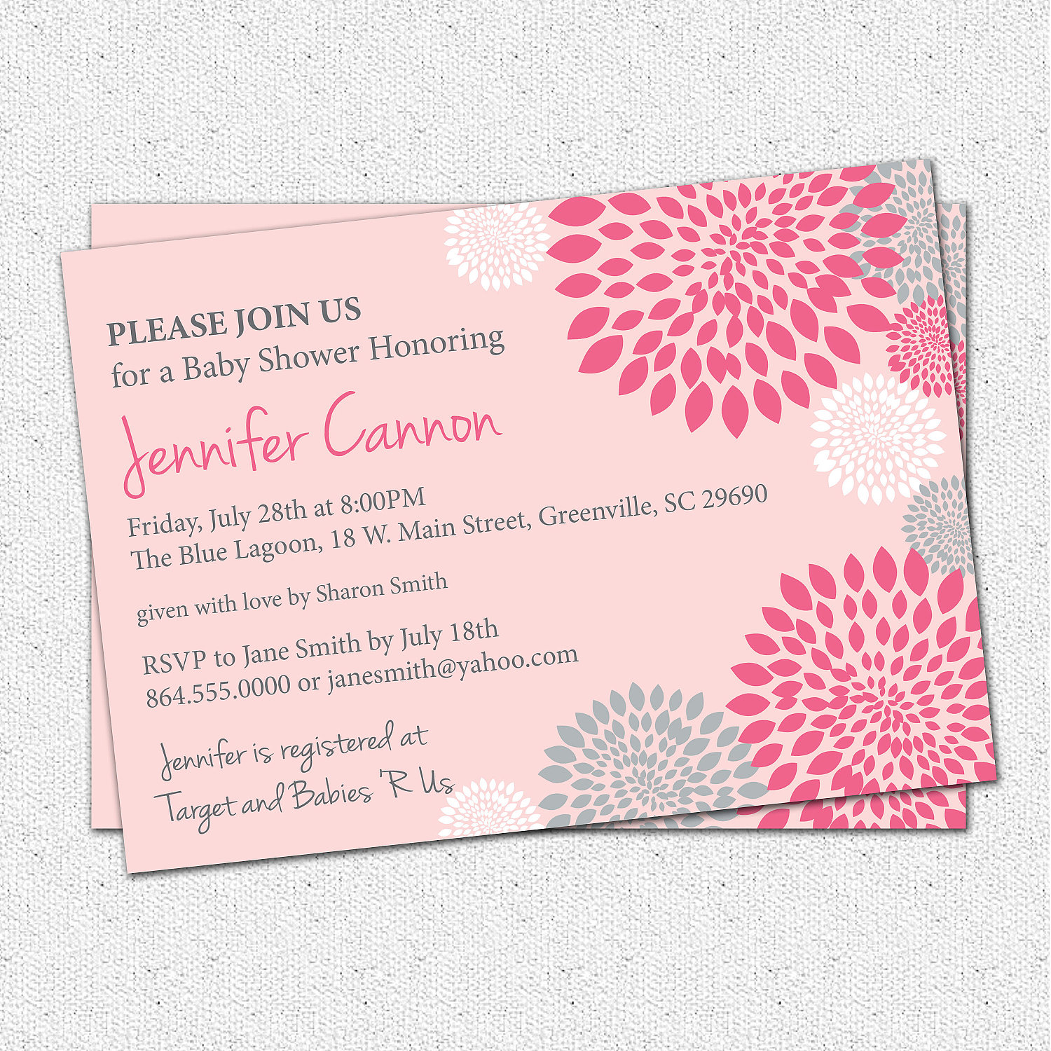 Baby Shower Invitations, Girl, White, Hot and Pale Pink and Grey ...
