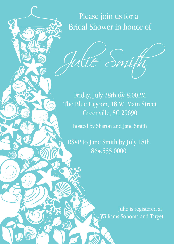 Bridal shower invitations seashell dress elegant sea for Elegant bridal shower invitations