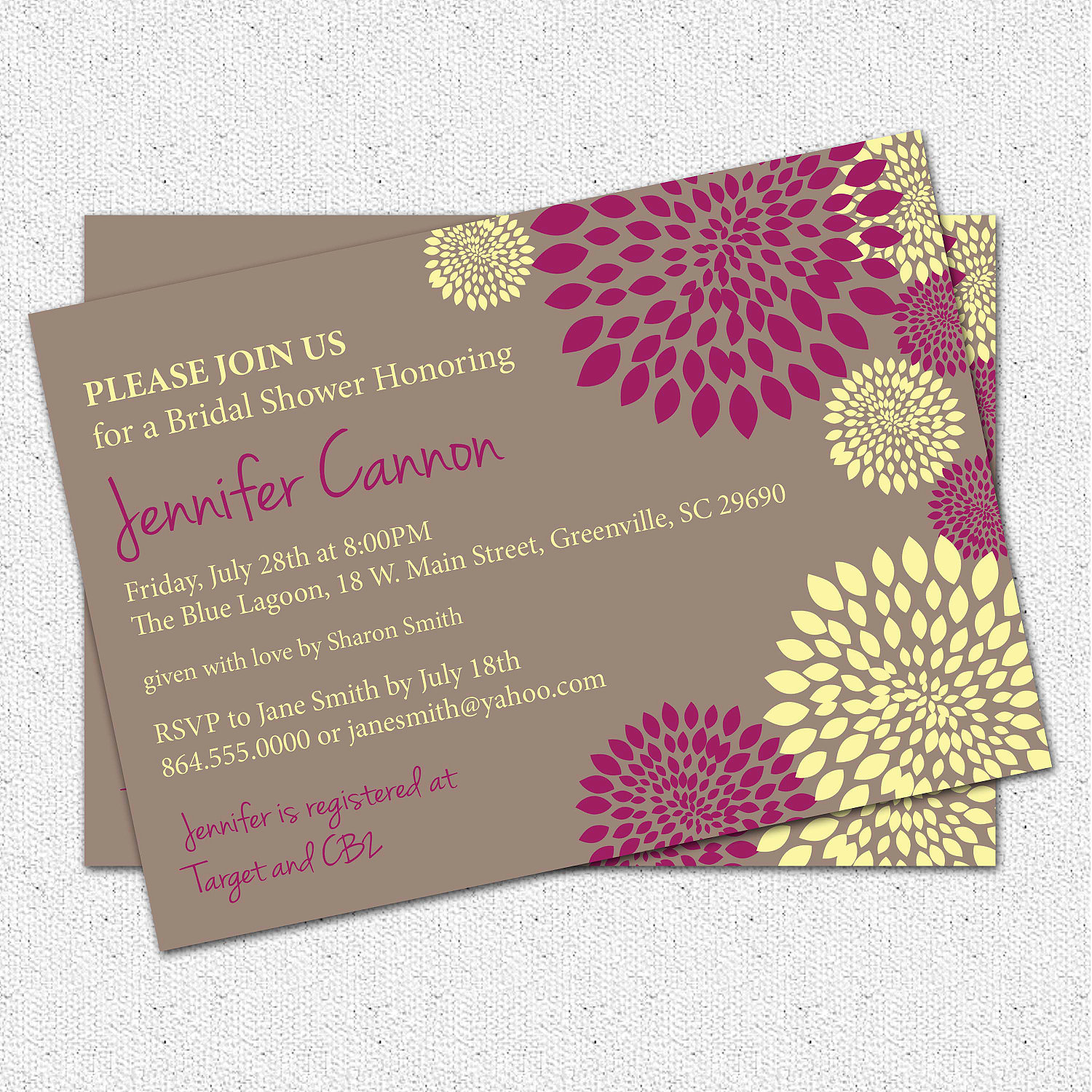 Bridal shower or baby shower invitations floral you pick colors bridal shower or baby shower invitations floral you pick colors custom modern filmwisefo