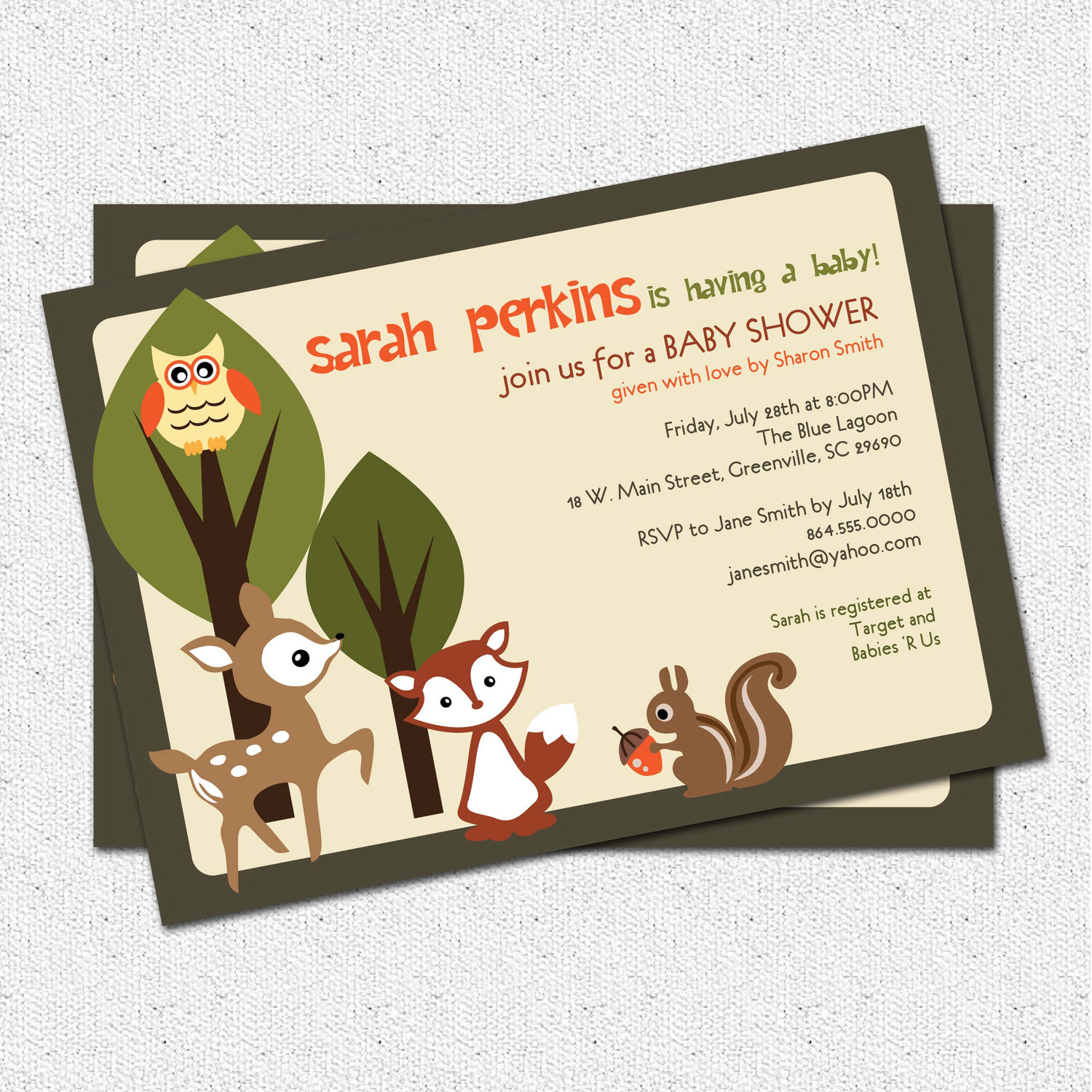 baby shower invitations woodland animals creatures forest custom