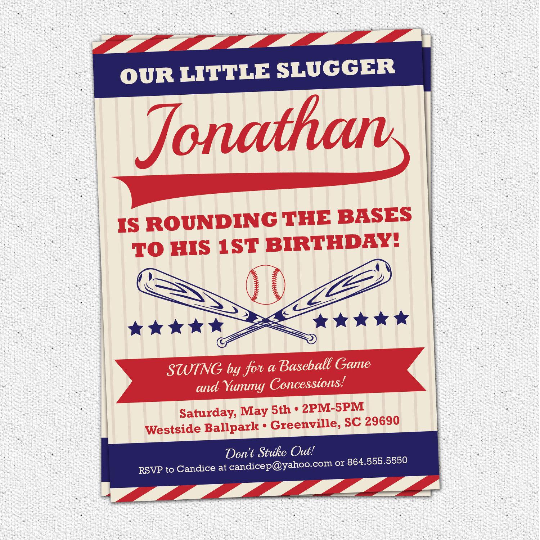 Baseball Birthday Invitations, Vintage, Retro, Child, Boy Party, Red ...