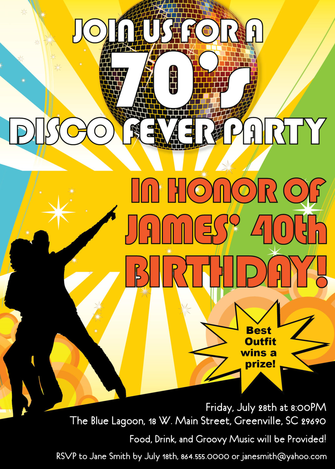 Disco Ball 70s Seventies Themed Party Invitations Birthday Dance – 70s Party Invitation