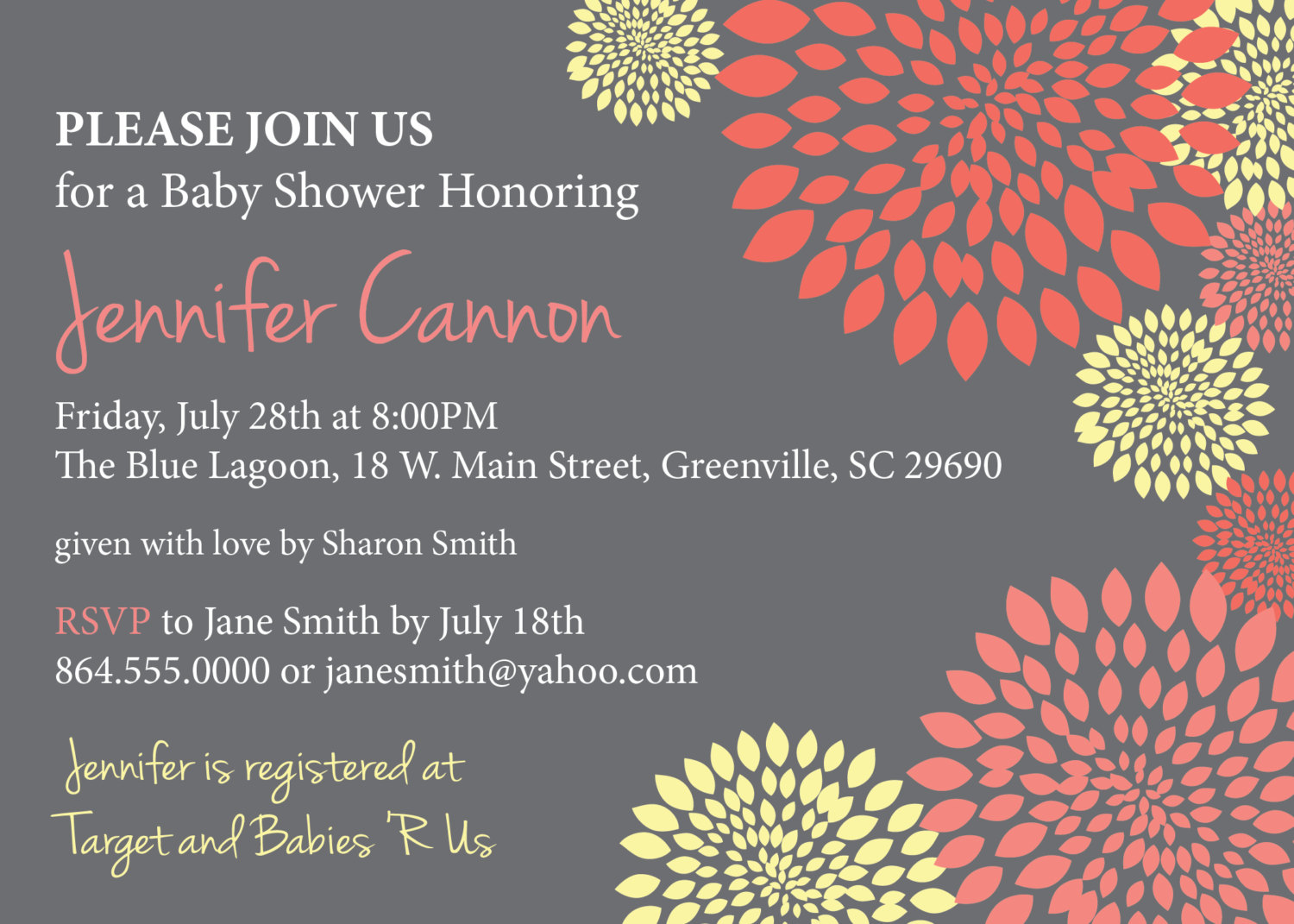 Baby Bridal Shower Invitations, Girl Coral Salmon and Pale Yellow ...