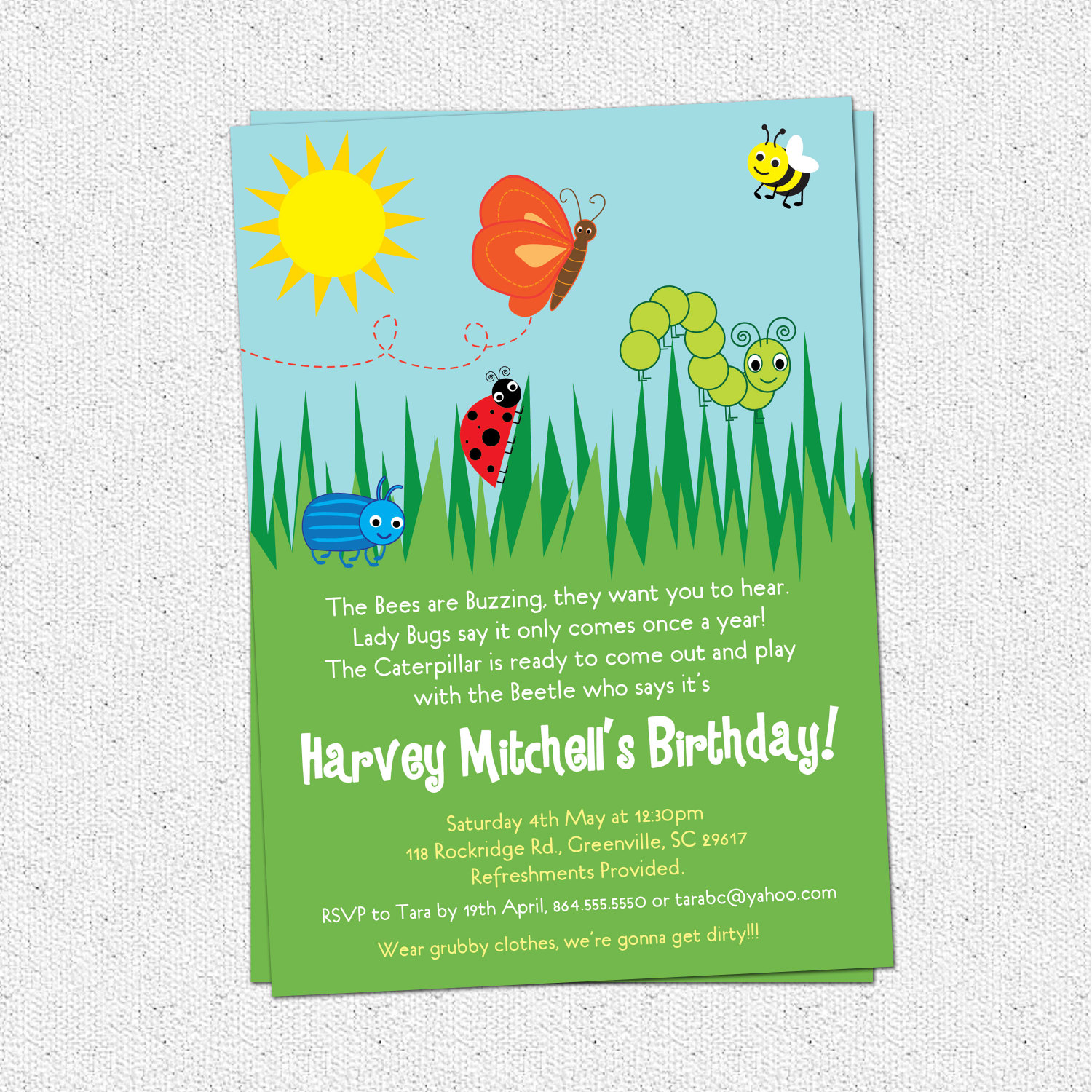 Bug Insects Birthday Party Invitations, Summer, Butterfly, Bee ...