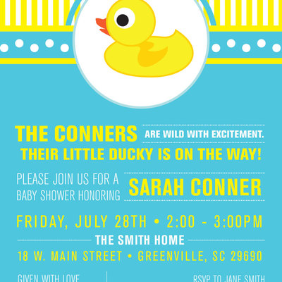 Little Rubber Ducky Baby Shower Invitations Duckie Modern Preppy