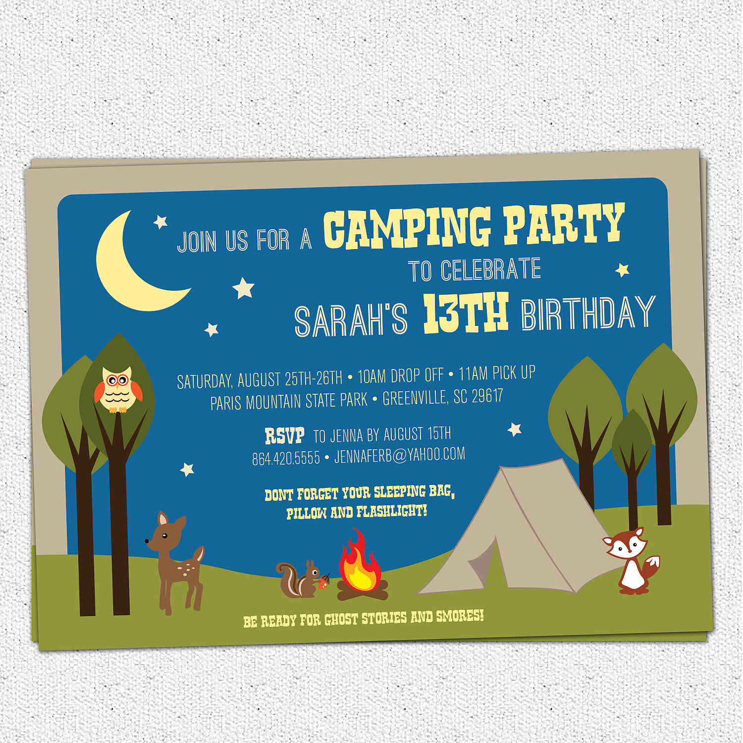 camping party invitations birthday summer woodland animals camp night time - Camping Party Invitations