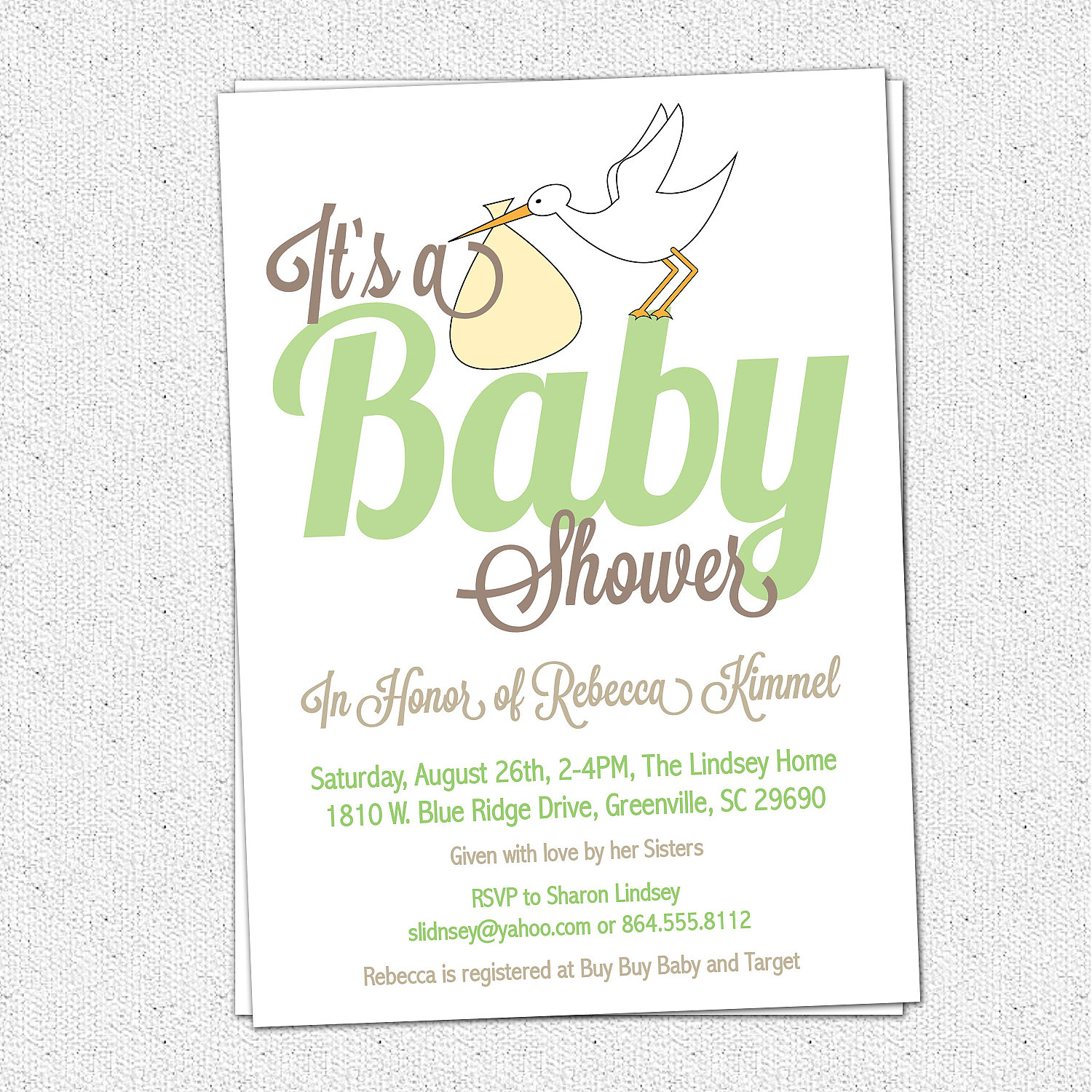 Stork baby shower invitationsgender neutral green yellow modern stork baby shower invitationsgender neutral green yellow modern calligraphy handwriting filmwisefo Choice Image
