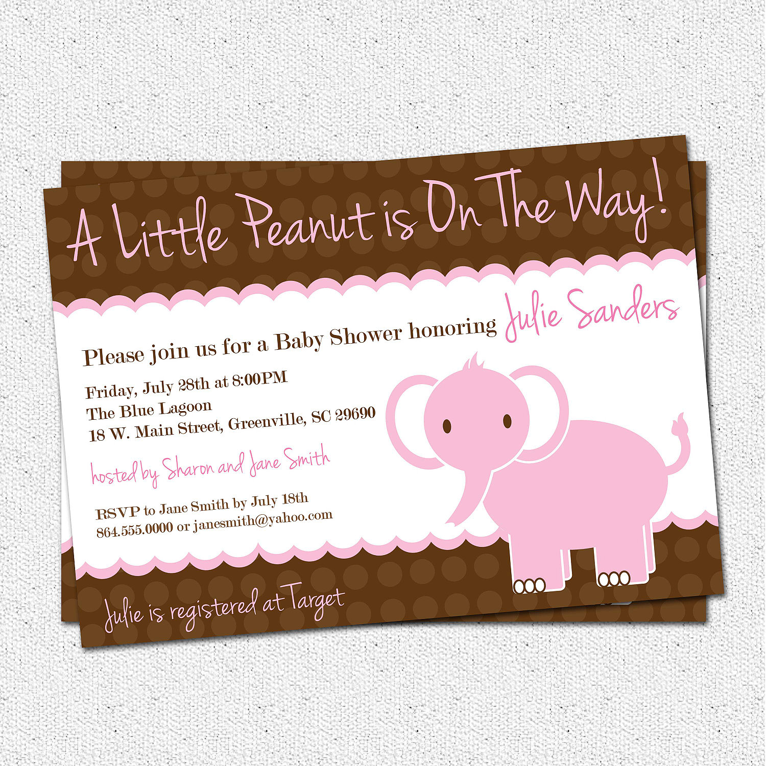 Baby Shower Invitations, Girl, Elephant , Little Peanut, Pink and ...