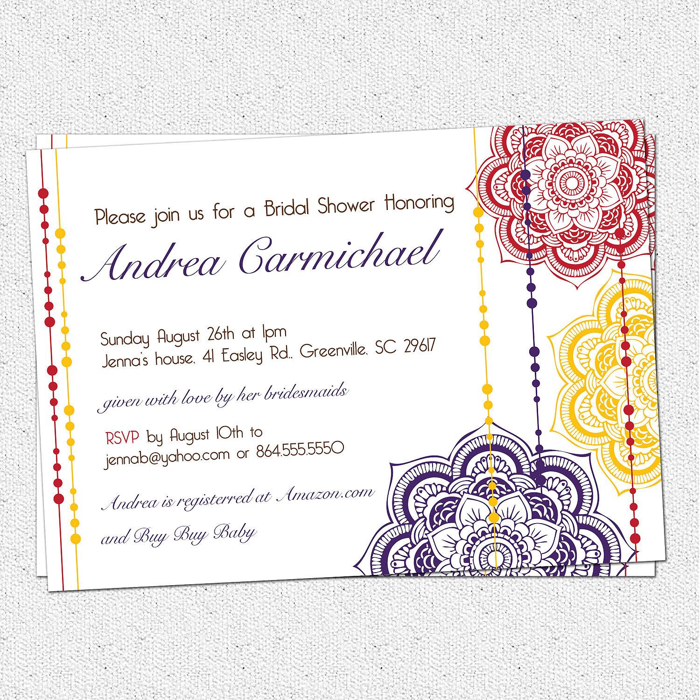 Moroccan bridal shower invitation floral elegant modern for Elegant bridal shower invitations