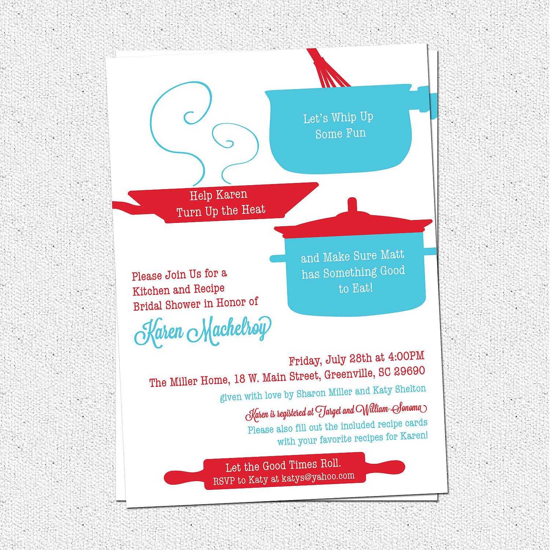 Retro Kitchen Bridal Shower Invitations, Theme, Aqua and Red, SET OF ...
