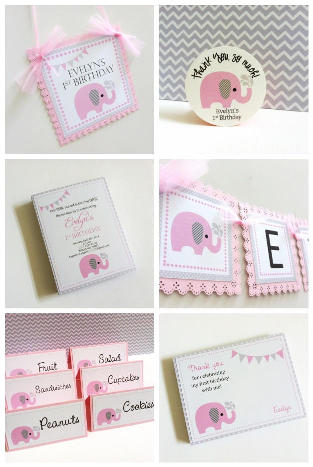 Pink Elephant Party Banner For Kids Birthday Or Baby Shower   Thumbnail 1  ...