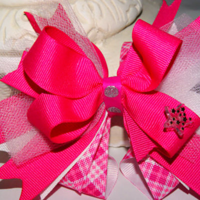 Pink and plaid frenzy boutique hair bow