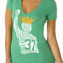 Gleason Gras Ladies V-neck Tee