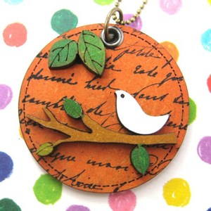 Ink on Wood Dove Bird Animal Pet on a Branch Pendant Necklace Orange