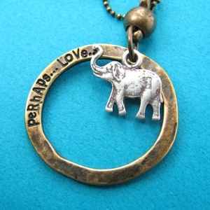 Elephant Animal Hoop Pendant Necklace in Silver on Bronze