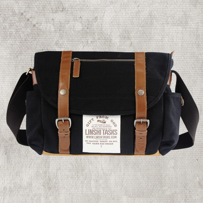 12'' Retro Black canvas messenger bags for men or women ...
