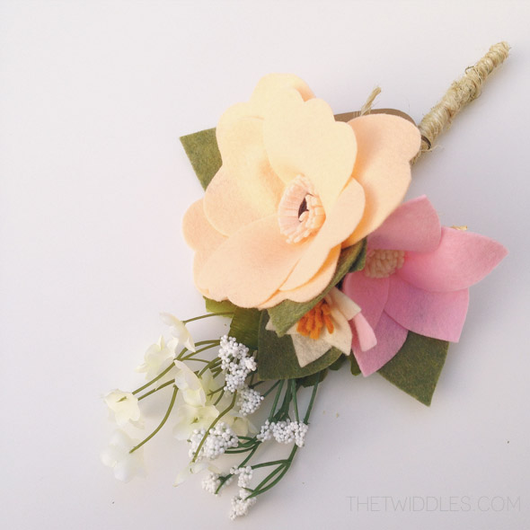 Ready to Ship* Mini Peach & Pink Felt Flower Bouquet · The Twiddles ...