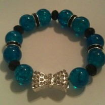 Blue Bow Charm Bracelet (Little Diva Collection)