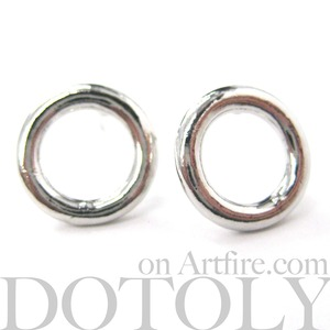 Small Round Hoop Cut Out Stud Earrings in Silver