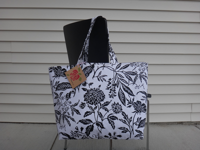 Shopping Bag Tote White Black