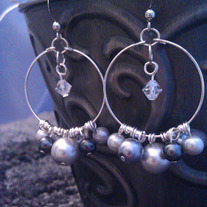 Grey Hook Hoop Cluster Earrings