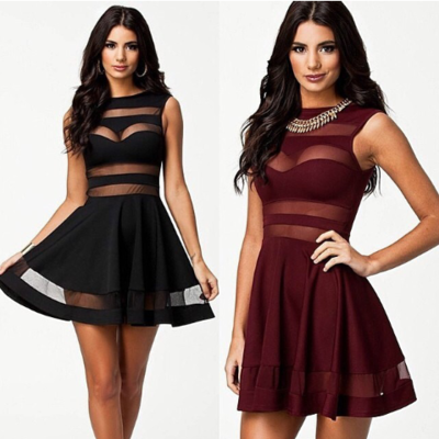 Stylish mesh cut-out dress