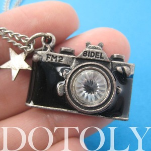 Camera Photographer Necklace in Black on Silver with Rhinestone Lens